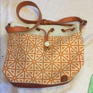 Spartina orange and white drawstring bag